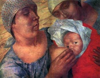 К. Петров — Водкин, «Материнство» (1925). Изображение с сайта wikiart.org